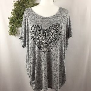 Free Kisses Marled Gray Lace Heart Knit Top 🌿